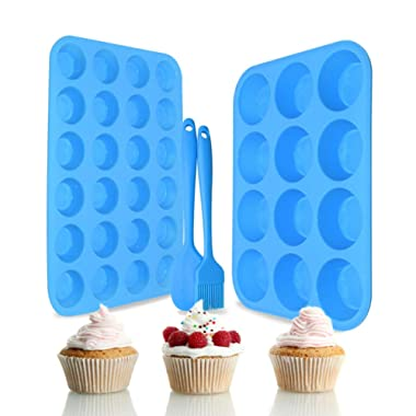 Silicone Muffin Pan Set – Regular 12 Cups and Mini 24 Cups Muffin Cupcake Baking Pan,Muffin Tin for Muffins, Cupcakes,Food Grade Silicone Muffin Molds with 1 Silicone Spatula & 1 Oil Brush (blue)