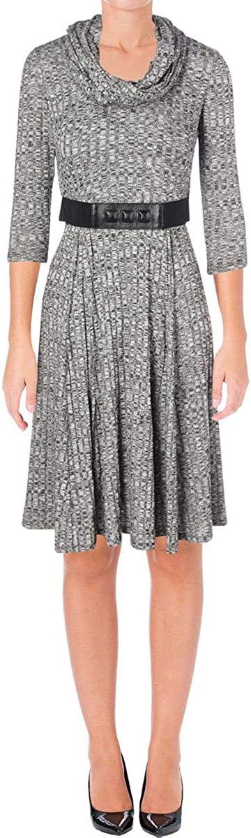 Signature by Robbie Bee Womens Petites Heathered Knit Wear to Work Dress Gray PM