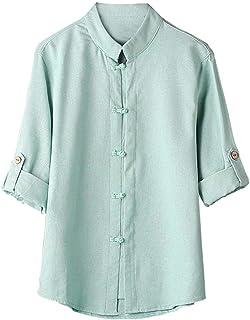 OULSEN Fashion Retro Men's Loose Casual Shirt Plain Plus Size Long Sleeve Stand Collar Buttons Blouse Men Top Shirt Chines...