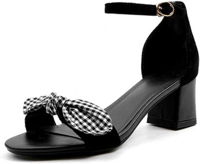 Elegant Women Genuine Leather High Heel Sandals Bowtie Ankle Sandals