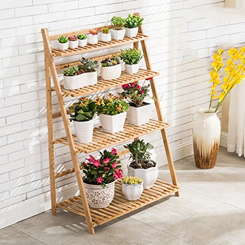 QFF Racks de fleurs Bamboo Indoor and Outdoor Multilayer Flower Shelf Living Room Flower Pot Rack Floor Stand Balcon ( taille : 70cm )