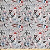 ABAKUHAUS Paris Stoff als Meterware, Frankreich Icons Stadt