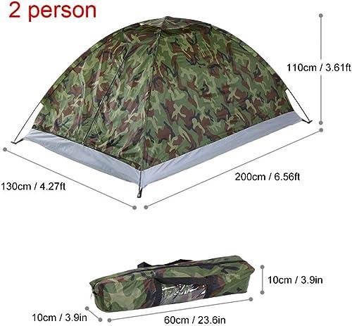 MDZH Tente 1 2 Personne Tente De Camping Tente De Plage De Couche Unique Camouflage Polyester Randonnée Tente De Camping en Plein Air avec Sac