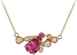 Epinki 18K Gold Necklace for Women Girls Honey Bee Necklace Round Gemstone Rose Gold Chain Length 40CM