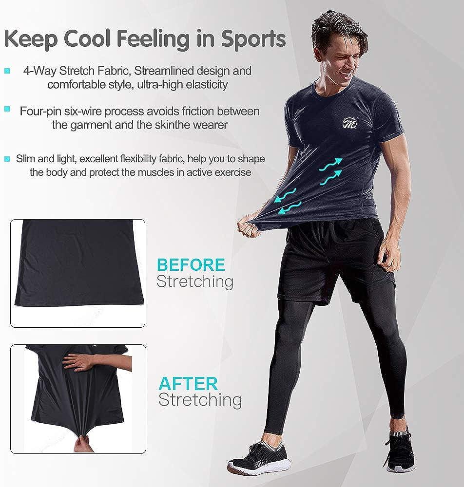 MEETWEE T-Shirt de Sport Homme Baselayer Manches Courtes Maillot Running Tee Shirt Vetement de Fitness Gym