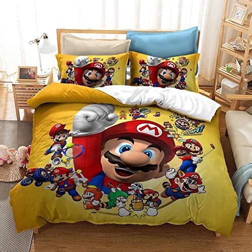 JSYJ Los niños lecho de Dibujos Animados, la impresión 3D Super Mario Bros Funda Nórdica 1/2 Funda de Almohada Juego de Tamaño Completo, Individual Doble Textiles for el hogar