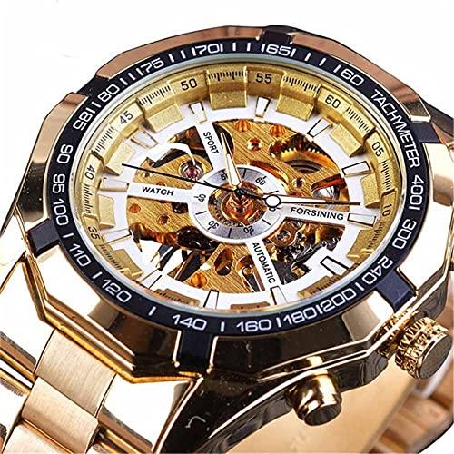 Herrenuhr Herren Chronograph Edelstahl wasserdichte Designeruhr Business Herrenuhr mit Edelstahlarmband (Weiße Nudeln mit goldenem Streifen)