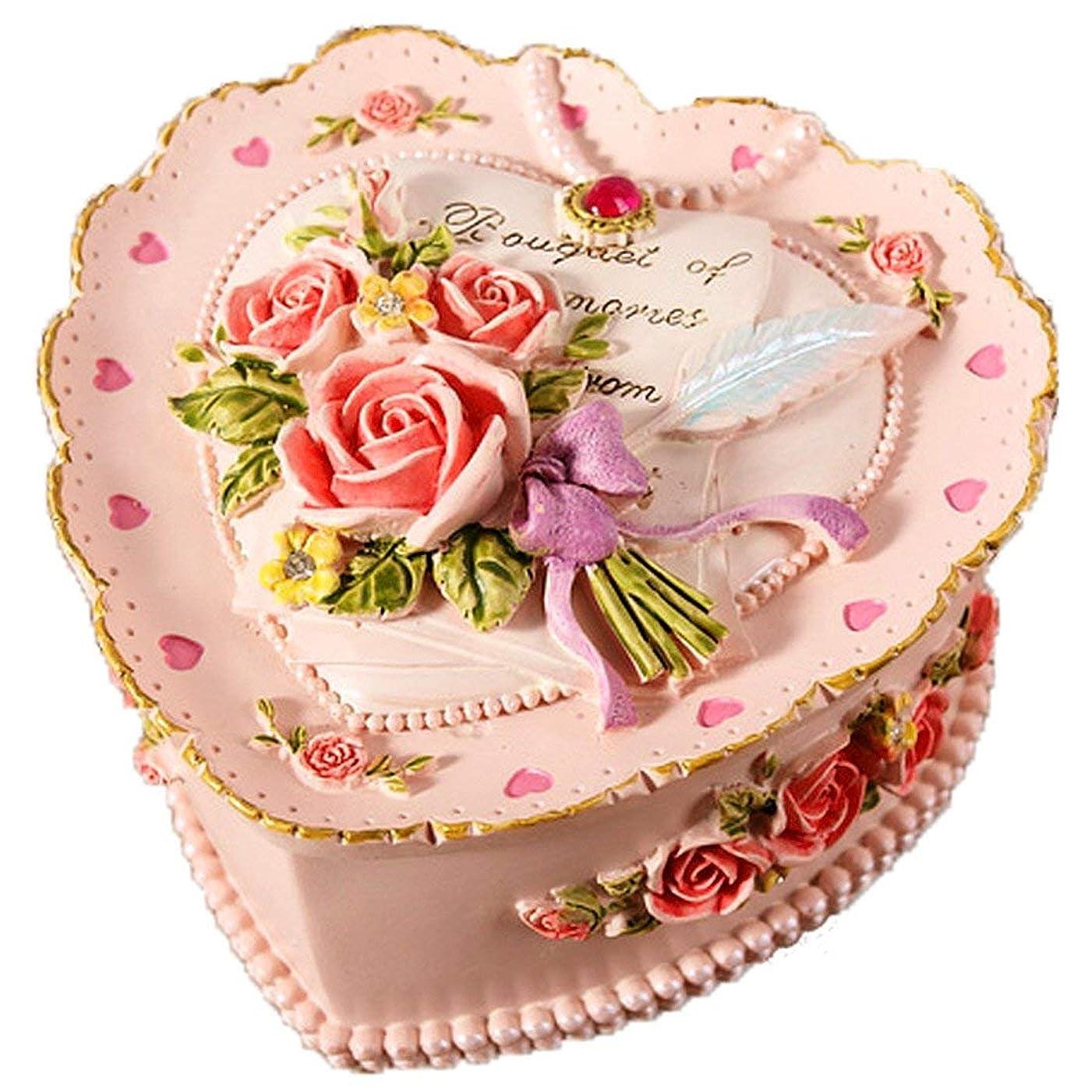 つまずく融合山積みの宝石箱 可愛い ロココ調 ジュエリーボックス アクセサリー ケース 小物入れ ボックス コレクション インテリア (ローズ?ピンク)【SiSe9】