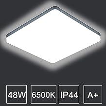 Kambo LED Lámpara de Techo Moderna Plafon Techo Led 48W Cuadrada Blanca 4320LM Blanco Frío 6500K Impermeable IP44 Para Baño Cocina Sala de Estar Dormitorio Pasillo Habitacion Comedor Balcón