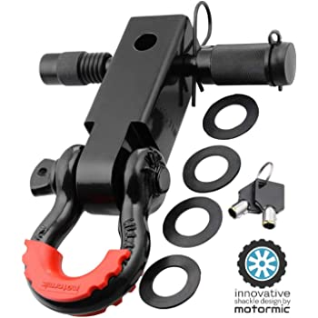 """with 3//4 D Ring and 7//8 Screw Pin Safety Ring 4 Rubber Washers and 1 Red Isolator motormic Unique Shackle Hitch Receiver 2/"""" Includes 1 Black Bent Pin 35,000 lbs Max Capacity"""