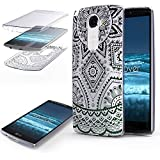 Urcover Coquille Tactile 360 degrés | LG G3 | Dream Catcher Mandala in Noir | Silicone Transparent Doux Protection...