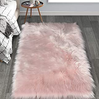 HAOCOO Faux Fur Sheepskin Rug Fuzzy Fluffy Rectangle Pink Area Rugs 4' x 5' Kids Carpet for Bedroom Living Room Floor Or Across Your Armchair Sofa Couch