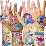 Qpout Tatuajes temporales para niños,Tatuajes De Sirena De Brillo para niños Niñas Niños Accesorios de fiesta Cumpleaños Bolsa de regalo Rellenos Rellenos de fiesta Regalo de Halloween