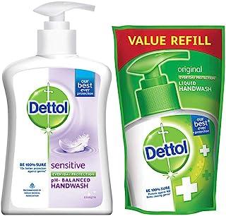 Dettol Liquid Sensitive Handwash - 200 ml with Free Dettol Original Liquid Hand Wash Pouch - 175 ml (Any Variant)