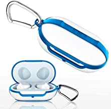 XUNDD Frosted Clear Case Cover for Galaxy Buds 2019/Galaxy Buds Plus 2020 with Carabiner, Anti-Lost & Shockproof TPU Case for Samsung Galaxy Buds/Buds Plus, Support Wireless Charging - Blue