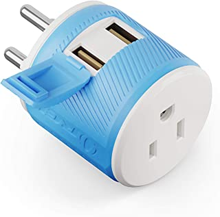 Thailand Travel Plug Adapter by Orei with Dual USB - USA Input + Surge Protection - Type O (U2U-18), Will Work with Cell P...