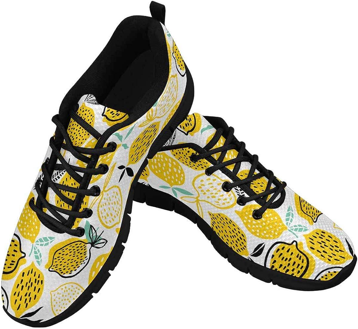 INTERESTPRINT Summer Lemon Pattern Women's Athletic Walking Shoes Breathe Comfort Mesh