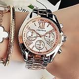 Nuevos Relojes Populares de Mujeres Marcas de Lujo Rose Gold Ginebra Señoras Reloj de Acero Inoxidable Cuarzo Analógico Relojes de Pulsera Reloj Mujer # M (Color : Gift Watch)