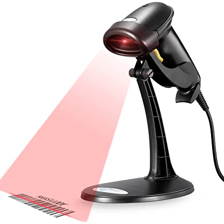 Barcode Scanner, Wired Handheld Bar Code Scanner with Adjustable Stand, Esky Automatic 1D USB Laser Scanner Support Windows/Mac/Linux for POS System Sensing, Store, Supermarket, Warehouse