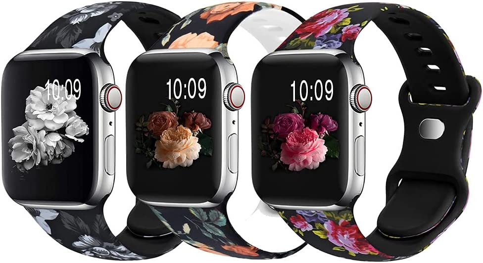 OriBear 3 Pack Bands Compatible with Apple Watch Bands 38mm 40mm 41mm for Women Girls, Cute Silicone Fadeless Floral Printed Replacement Strap for iWatch Series SE 7 6 5 4 3 2 1, Elegant Flower