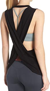 Fihapyli Women's Yoga Top Cross Back Workout Clothes Sleeveless Running Blouse