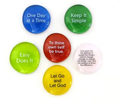 Lifeforce Glass Recovery Stones, 6 Daily Reminders for Encouragement in Sobriety on Glass Stones. Perfect for 12 Step Set I.