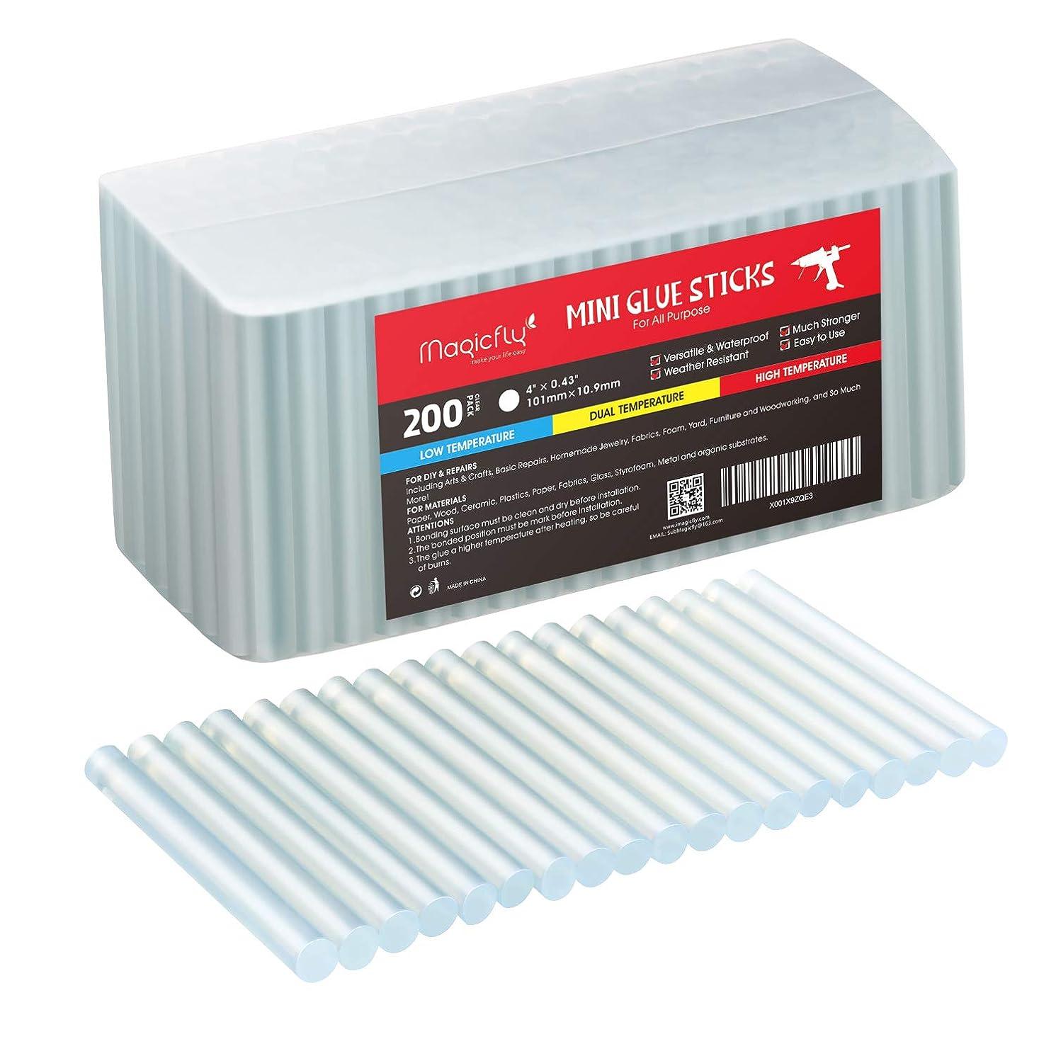 200-Pack Full Size Hot Glue Sticks, Magicfly 4