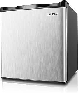 Euhomy Mini Freezer, Energy Star 1.1 Cubic Feet Single Door Countertop Compact Upright Freezer with Reversible Stainless Steel Door.