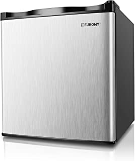 Euhomy Mini Freezer Countertop, Energy Star 1.1 Cubic Feet Single Door Compact Upright Freezer with Reversible Stainless Steel Door(Silver)