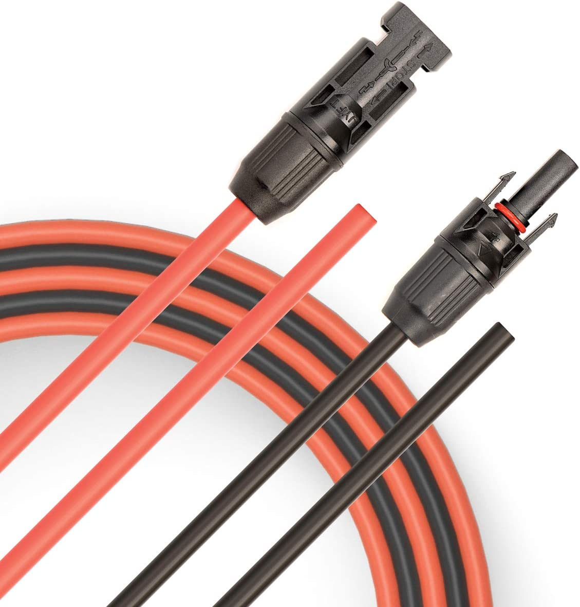 JYFT 10AWG Compatible with MC4 10FT Red + 10FT Black 6mm/² Solar Extension Cable with PV Compatible Female and Male Connector