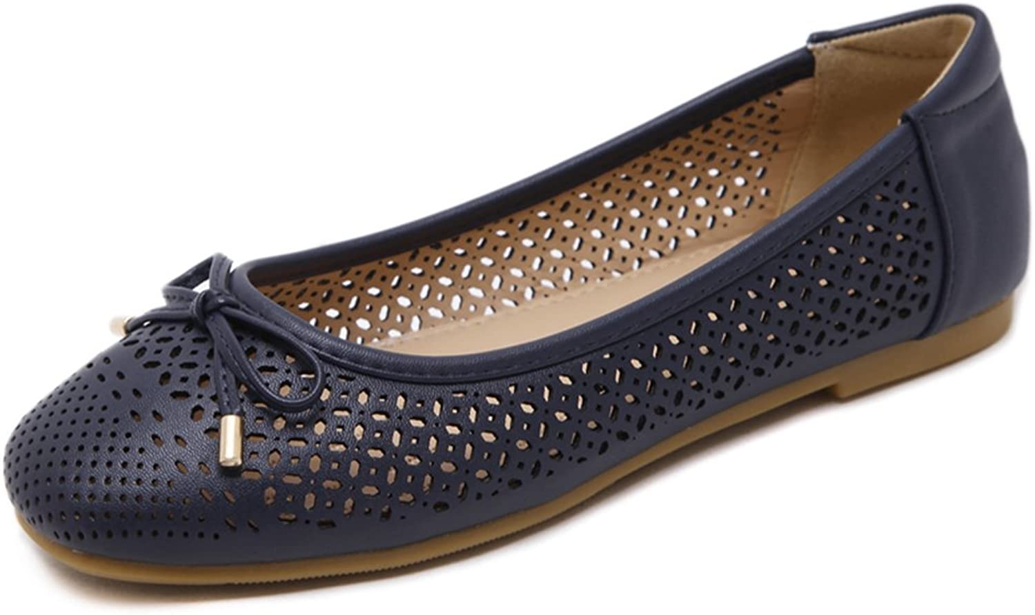 Giles Jones Women's Soft Flats Hollow Slip On Loafers shoes Breathable