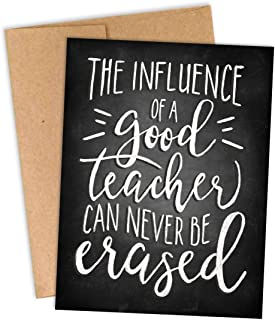THANKS, TEACH! Set of 10 Teacher Thank You Gift Notecards - The Influence of a Good Teacher Can Never Be Erased - Thank You Cards For Teachers Bulk Set - Proudly Made in the USA By Palmer Street Press