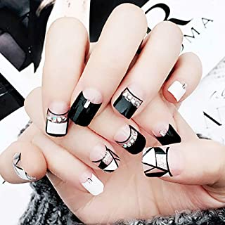 Drecode 24Pcs False Nails Black White Geometric Lines Silver Sequins Bead Fake Nails Full Cover Fashion Party Acrylic Nails for Women and Girls