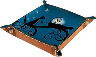 Yuzheng Halloween Cat Star Bleu Tiroir Plateau Bureau Papeterie Articles Divers Gadget Pliable en Cuir Organisateur Boîte ...