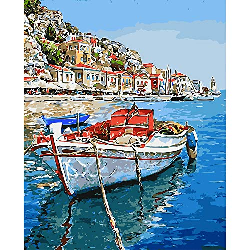 "BAISITE Paint by Numbers for Adults,DIY Canvas Oil Painting 16""Wx20""L Drawing Paintwork with Paintbrushes,Acrylic Pigment-Lakeside Boat 3442-4"