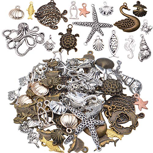 Marine Charm Collection,100g (about 60-70 pieces) Sea Creatures Pendants Alloy Ocean Life Seashell Sea Stars Fish Jewelry Findings Craft Supplies for DIY Bracelet Necklace