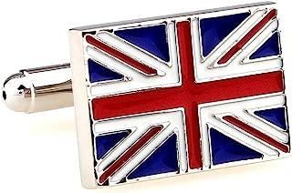 MRCUFF United Kingdom Flag Great Britain British Pair Cufflinks in Presentation Gift Box & Polishing Cloth