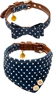 EXPAWLORER Bow Tie Dog Collar with Bell, 2 Pack Navy Blue Wave Point Adjustable Collars Bowtie Bandana for Puppy Cats