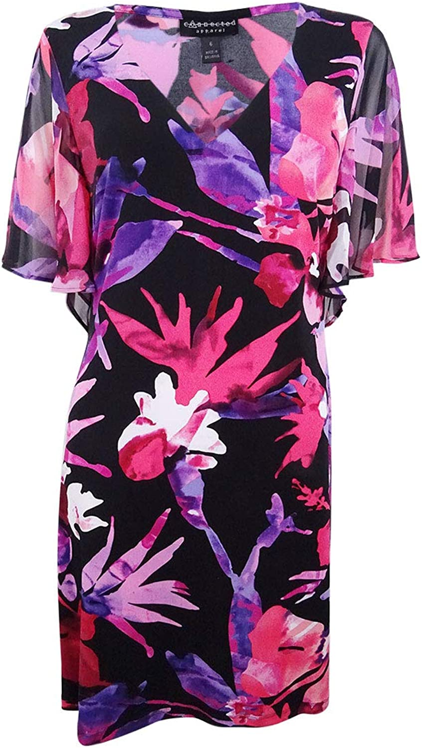 Connected Apparel Womens Floral Daytime Sheath Dress