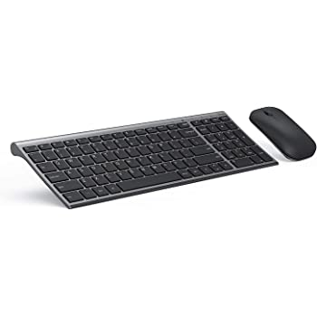 Wireless Keyboard and Mouse Combo, Seenda Ultra Thin Rechargeable Low Profile Keyboard and Mouse Set with Number Pad for Windows-Space Gray