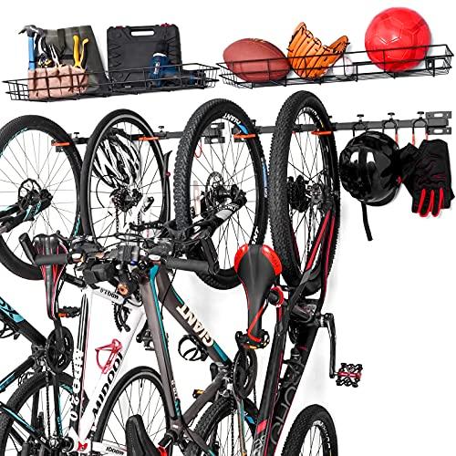 ikkle Soporte de Pared para Bicicletas, Soporte bicicletas pared con Cesta...