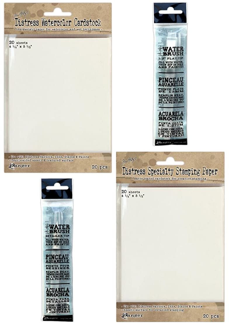 Tim Holtz Specialty Papers & Water Brushes Bundle - 4 Items
