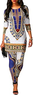 Womens Dashiki Suit 2 Pieces African Print Outfits 3/4 Sleeve Tops Shirt and Long Pants Set