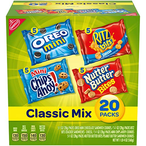 Nabisco Classic Cookie & Cracker Mix, Variety Pack with Oreo Mini, Mini Chips Ahoy!, Nutter Butter Bites Cookies & Ritz Bits Cheese Crackers, 20 Count Individual Snack Bags