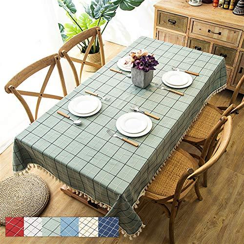Liveinu Nappe Rectangulaire Tissu de Table Rayure Lavable Entretien Facile Résistant Imperméable Anti-tâche Nappe de Table pour Picnic Cuisine Jardin Vert 140x220cm