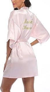 Women's Short Satin Kimono Robes Bridal Rhinestone Wedding Party Bathrobes