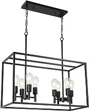 VINLUZ 8 Light Farmhouse Island Pendant Hanging Lighting Black Kitchen Light Fixture for Dining Room Kitchen Bar
