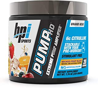 BPI Sports Pump Hd – Pump, Endurance, Strength – 6g Citrulline, Beetroot, Himalayan Pink Salt – Stimulant Free – No Artificial Colors – for Men & Women – Wicked Fruit Blast- 20 Servings – 7.76 Oz
