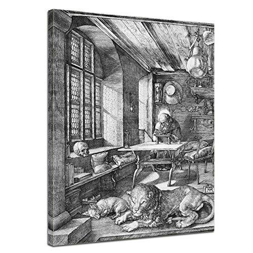 Bilderdepot24 Wandbild Albrecht Dürer Der heilige Hieronymus im Gehäus - 60x80cm hochkant - Alte Meister Ölmalerei Kupferstich religiöse Malerei