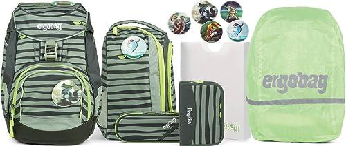 Ergobag Pack Super NinB Schulrucksack-Set 6tlg + Regencape Grün